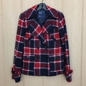 American Eagle Outfitters Red Navy Plaid Peacoat